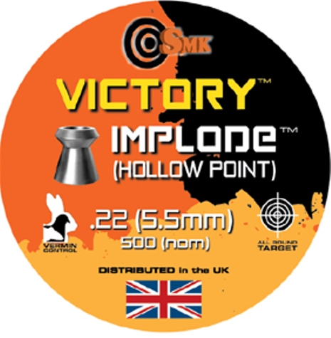 SMK VICTORY IMPLODE (HOLLOW POINT) .22 CALIBRE 15.7 gr x 5 tins