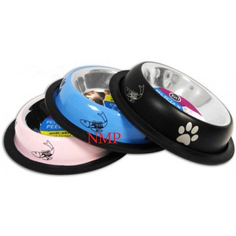 S/S CAT BOWL 8oz Paw Printed Anti-Skid