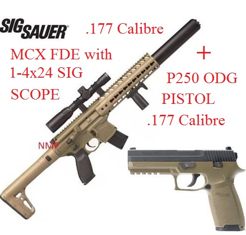 Sig Sauer MCX 30 Shot 88g CO2 Air Rifle FDE with Sig 1 4 × 24 Telescopic Sight .177 calibre Pellet and P250 ODG PISTOL KIT