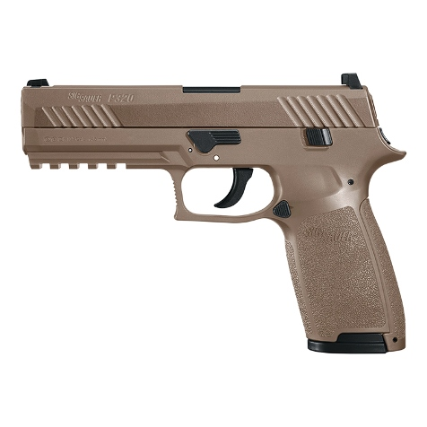 Sig Sauer P320 12g co2 Air Pistol Coyote Brown Finish .177 Pellet (4.5mm) Rifled Barrel , 30 shot Pellet