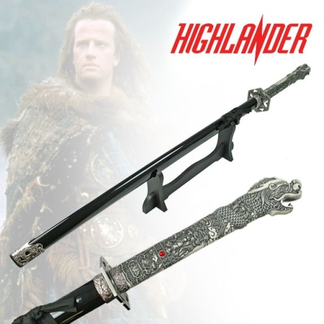 Single Straight 'Highlander 1st Generation' Sword With Stand (T310201)
