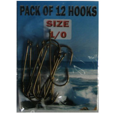 Eyed SEA Fishing Hooks Size 1/0  - 12 pack