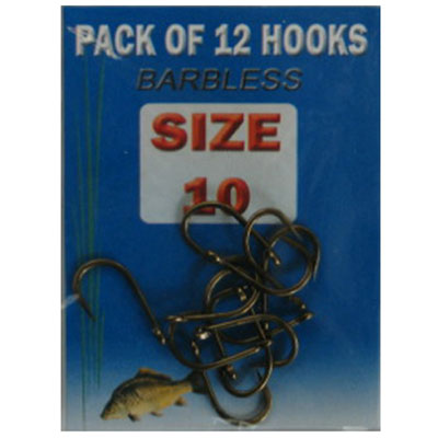 Size 10 barbless Eyed Fishing Hooks - 12 pack