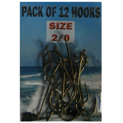 Eyed SEA Fishing Hooks Size 2/0  - 12 pack