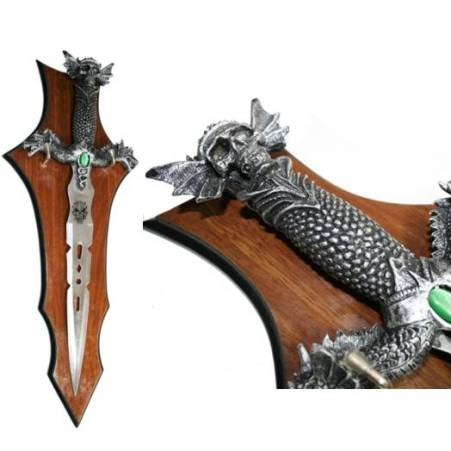 Skull and Dragon Fantasy Dagger on Plaque (SK0402)