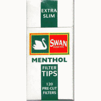 Swan Ultra Extra Slim 5mm cigarette filter tips Menthol flavour  1 box