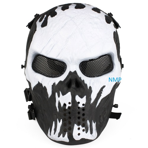Airsoft BB Gun Face Mask Big Foot Tactial Skull (Black/White)