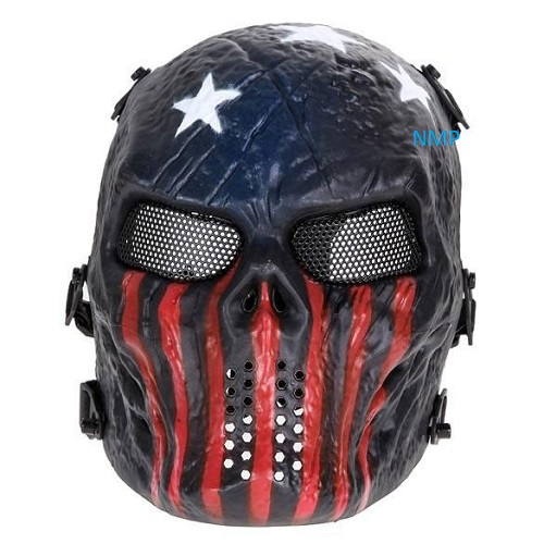Airsoft BB Gun Face Mask Big Foot Tactical Skull with Mesh Eyes (Captain)