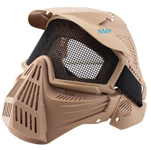 Airsoft BB Gun Face Mask Big Foot Tactical Full Face Protection with Eye Protection (Re-Enforced) (Tan)