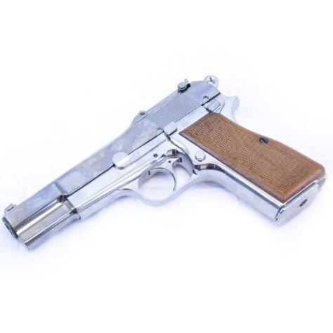 WE Browning Hi Power Chrome Pistol Gas powered (1088)