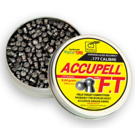 Webley AccuPell FT Field Target Competition Pellets 4.52mm (.177) Domed (500 - 8.64g) Air Gun Pellets x 10 tins
