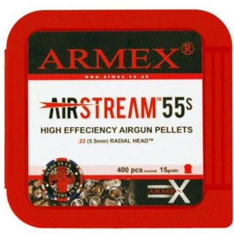 Armex Airstream 55's Standard .22 pellets x 400 per tub