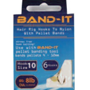 Band-it barbless hair rig hooks to nylon Size 10 ( BAN120 )