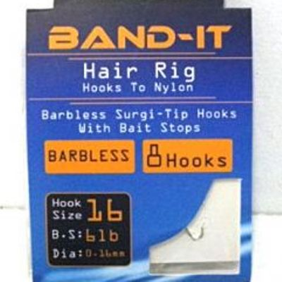 Band-it barbless hair rig hooks to nylon Size 16 ( BAN123 )
