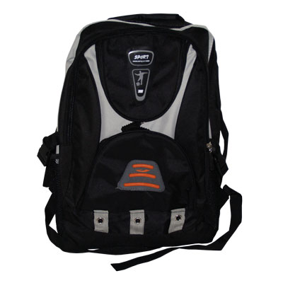 Black Sport style rucksack / back pack with a number of zips storage compartments and night warning orange light reflector.