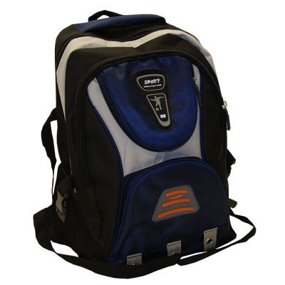 Blue Sport style rucksack / back pack with a number of zips storage compartments and night warning orange light reflector.