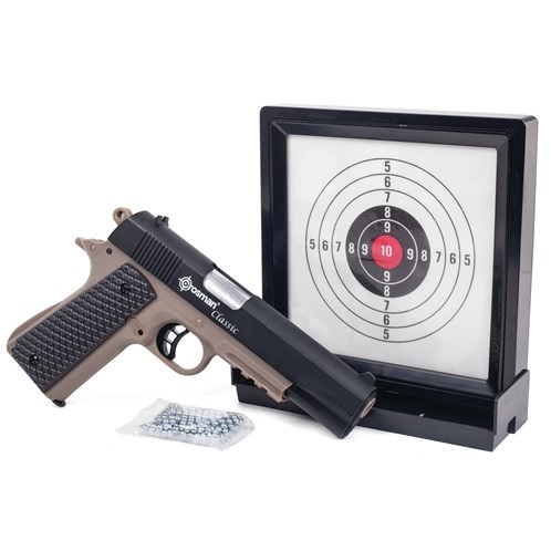 Crosman Classic 1911 Pistol Kit Spring powered single shot pistol with sticky target & 250 BBs