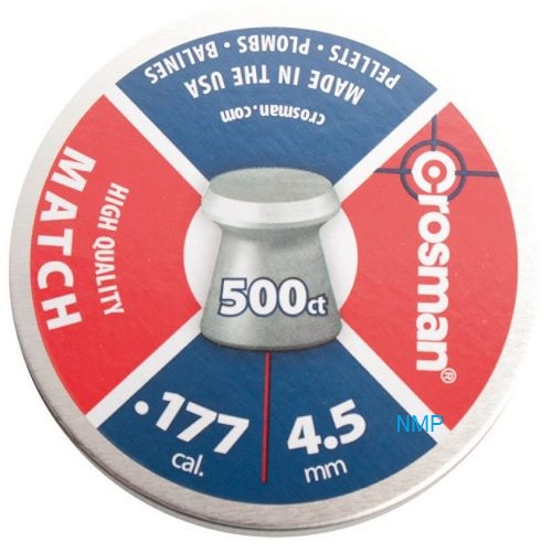 CROSMAN Match Wadcutter (flat head) .177  7.9 grain tin of 500 x 10 tins