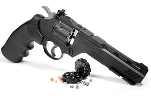 "CROSMAN 3576W Vigilante 12g co2 air pistol revolver, 6"" barrel, fires .177 calibre pellets & .177 steel BB (10 shot pellet - 6 shot BB)"