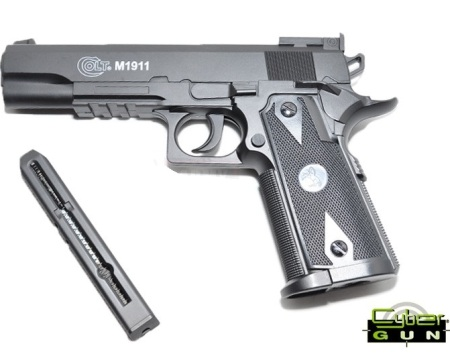 6MM AIRSOFT Pistol Cyber Gun COLT 1911 MATCH 12g CO2 powered Fixed None Blowback Pistol ( Colt M1911 6mm 13 shot bb )