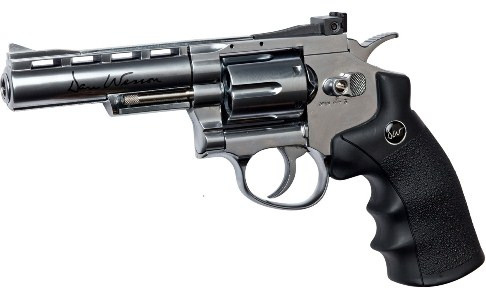 "6MM AIRSOFT Pistol ASG Dan Wesson 4"" Barrel Silver Licensed 4"" Revolver 12g co2 Air Pistol Fires 6 mm Nylon BB'S ( 6 shot 6mm BB )"