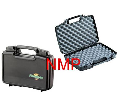 Flambeau Hard Pistol Case Medium 14 inch x 11 inch x 3.25 inch Black with sliding lockable latches and full egg shell foam (1411)