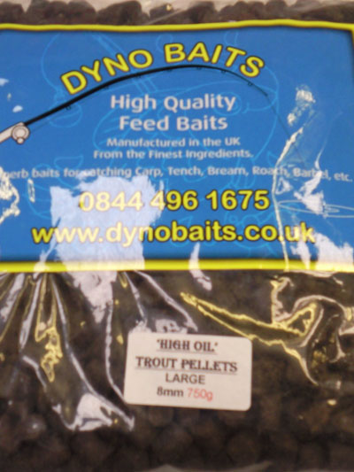 HIGH OIL 8mm Large TROUT PELLETS ( DYNO BAITS ) 750g