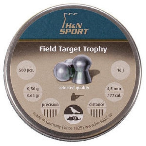 H&N Field Target Trophy Pellets 4.50mm .177 Calibre 8.64 grain Tin of 500 x 10 Tins