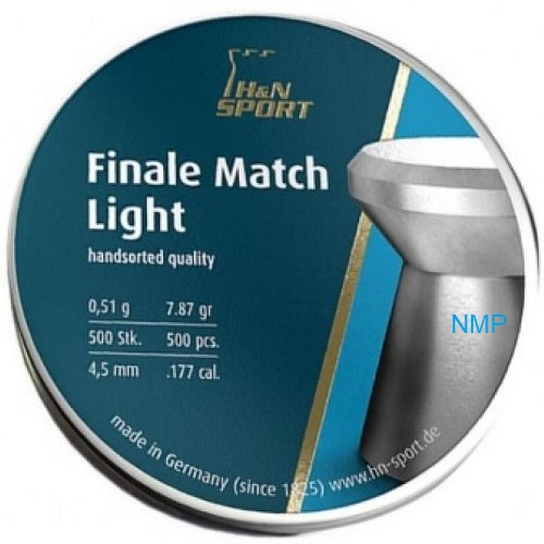 H&N Finale Match Light Pistol Flat Airgun Pellets .177 Caliber 4.50mm 7.87 Grains 500 pcs