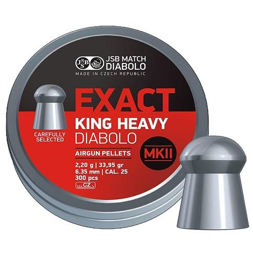 JSB Exact King Heavy MKII Pellets 6.35mm .25 Calibre 33.95 grain Tin of 300
