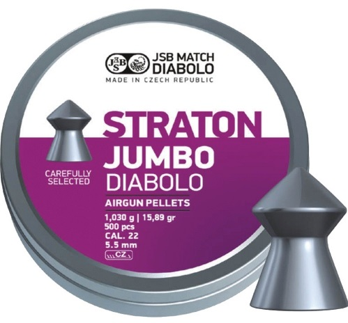 JSB Exact Straton Jumbo Pellets 5.50mm .22 Calibre 15.89 grain Tin of 500 x 10 tins