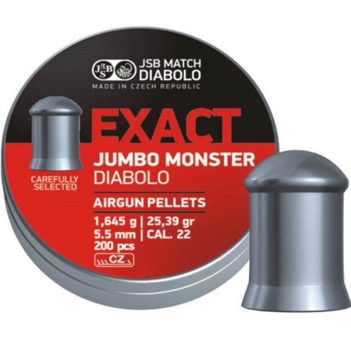 JSB Jumbo Exact Monster Pellets 5.52mm .22 Calibre 25.39 grain Tin of 200 x 10 tins