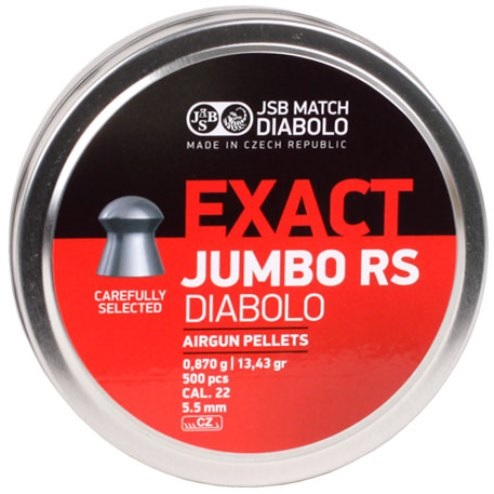 JSB Jumbo Exact RS Pellets 5.52mm .22 Calibre 13.43 grain Tin of 500