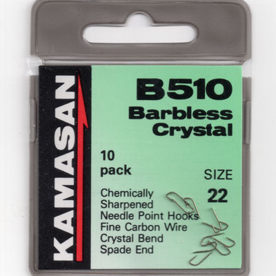 Kamasan B510 Barbless Crystal Spade end Hook Size 22