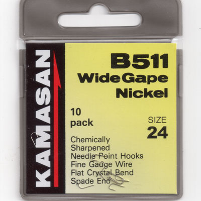 Kamasan B511 Wide Gape Spade end Nickel Hook Size 24