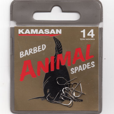 Kamasan Animal Barbed Spade End Hooks Size 10