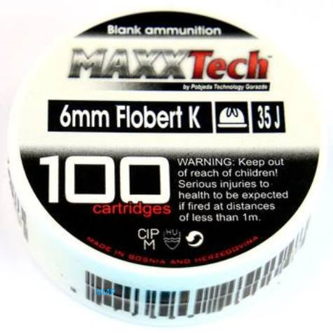 Maxx Tech .22 Crimped 6mm Blanks 100 Rounds per box (To be collected from store only)
