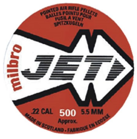 MILBRO JET TIN OF 500 Air Gun PELLETS CALIBRE .22 POINTED HEAD