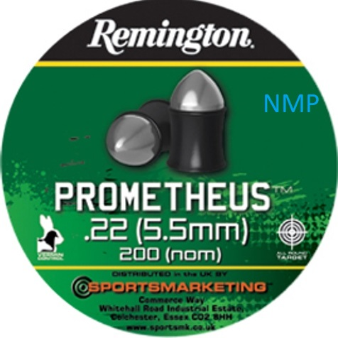Remington PROMETHEUS Air Gun Pellets .22 calibre tin of 200 9.0gr x 5 tins