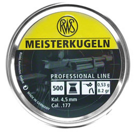 RWS meisterkugeln Pellet (heavy) .53gms - 8.2 grain .177 (4.49mm) flat head air rifle pellets,  recommended for air rifles (4.49mm)