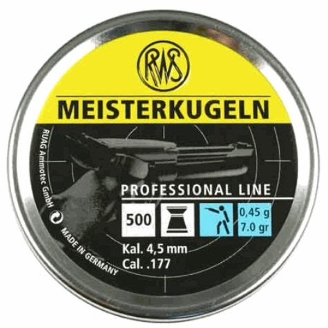 RWS meisterkugeln Pellet (light) .45gms - 7.0 grain .177 (4.50mm) flat head air pistol pellets, recommended for pistols (4.50mm) x 5 Tins