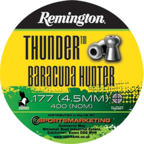 Remington Thunder BARACUDA HUNTER ( same as H&N Baracuda Hunter ) .177 calibre Hollow Point Air Gun Pellets 10.49 gr Tin of 400 x 5 tins