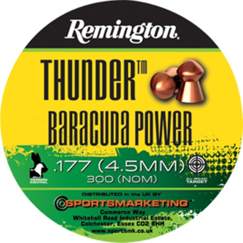 Remington Thunder BARACUDA Power ( same as H&N Baracuda Power ) .177 calibre Semi Pointed Copper Coated Air Gun Pellets 10.65 gr Tin of 300 x 5 tins