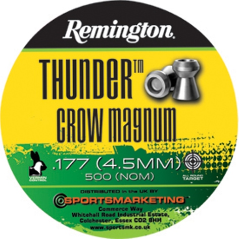 Remington Thunder CROW MAGNUM ( same as H&N Crow Magnum ) .177 calibre Hollow Flat Head Air Gun Pellets 8.80 gr Tin of 500 x 5 tins