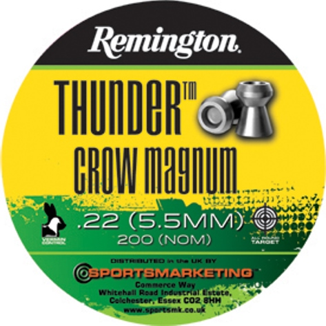 Remington Thunder CROW MAGNUM ( same as H&N Crow Magnum ) .22 calibre 18.21 gr Tin of 200 x 5 tins