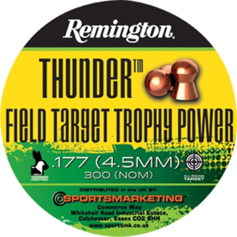Remington Thunder FIELD TARGET TROPHY POWER ( same as H&N Field Target Trophy Power ) .177 calibre Dome Head Copper Coated Air Gun Pellets 8.80 gr Tin of 300 x 5 tins