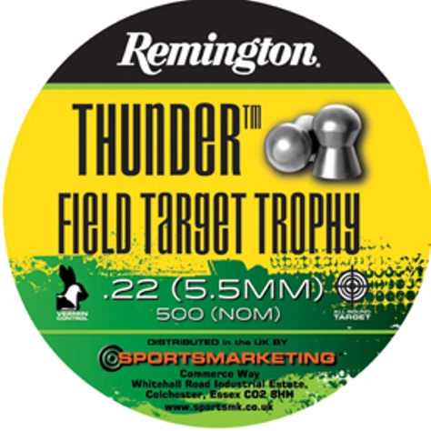 Remington Thunder FIELD TARGET TROPHY ( same as H&N Field Target Trophy ) .22 calibre 14.66 gr Tin of 500 x 5 tins