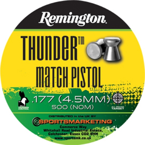 Remington Thunder Match Pistol ( same as H&N Match Light ) .177 calibre Flat Head Air Gun Pellets 7.87 gr Tin of 500 x 5 tins