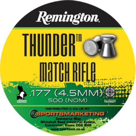Remington Thunder Match Rifle ( same as H&N Match Heavy ) .177 calibre Flat Head Air Gun Pellets 8.18 gr Tin of 500 x 5 tins