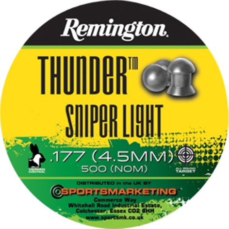 Remington Thunder SNIPER LIGHT ( same as H&N Sniper Light ) .177 calibre Dome Head Air Gun Pellets 7.41 gr Tin of 500 x 5 tins